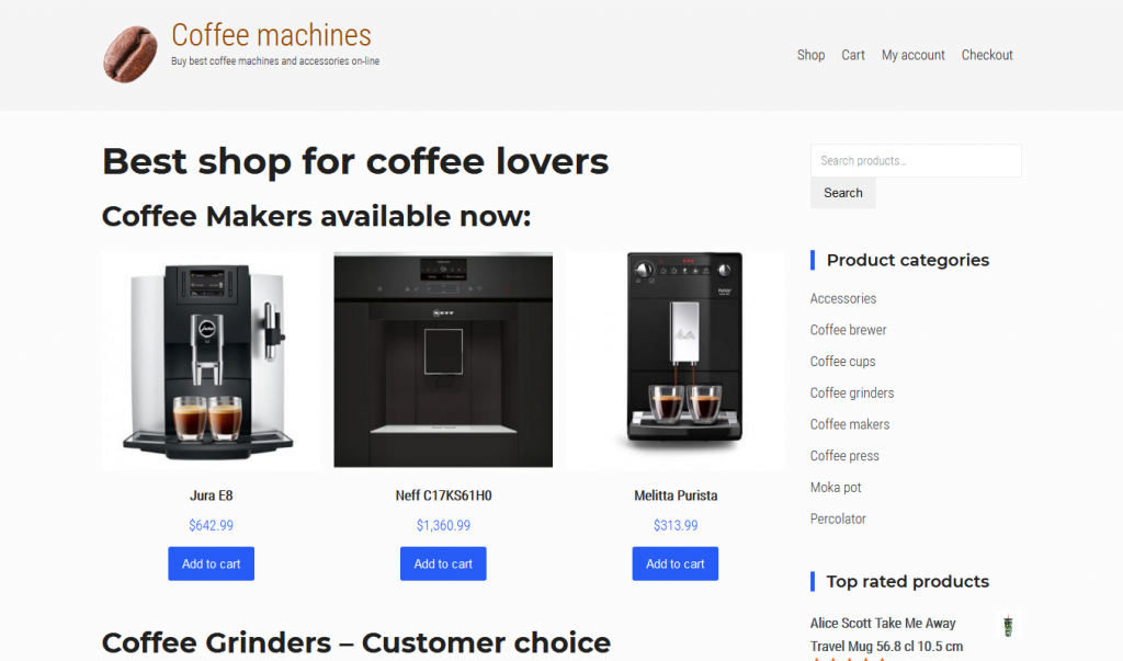 Coffee machines and accessories shop US